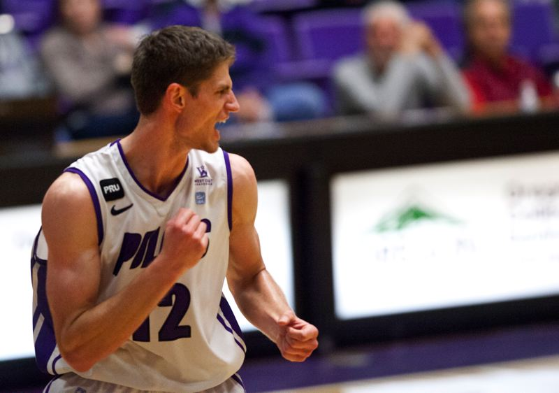 by: COURTESY OF STEVE GIBBONS - Thomas van der Mars, University of Portland center, had a big game Saturday night as the Pilots won at Portland State.