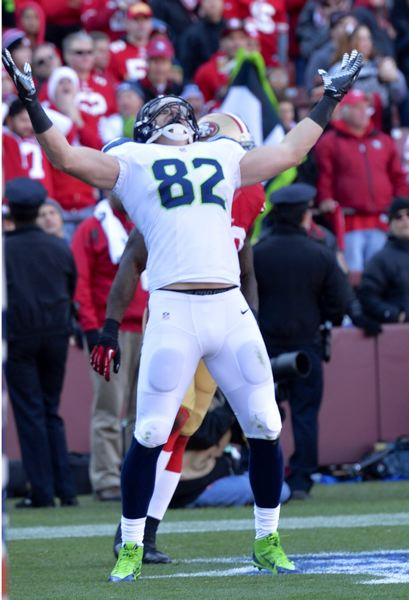 by: COURTESY OF MICHAEL WORKMAN - Luke Willson celebrates his touchdown.