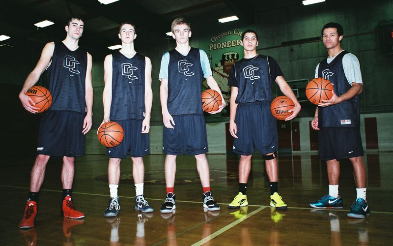 by: JOHN DENNY - With a chip on their shoulders, the unheralded Oregon City Pioneers aim to prove themselves among the best in the Three Rivers League this winter. Pictured are returning players (from left) Ryan Markuson, Austin DeWitz, Brad Martin, Hunter Knighton and Trevon Bradford.
