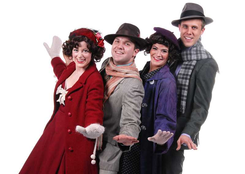 by: SUBMITTED PHOTO: TRIUMPH PHOTOGRAPHY - From left, Christine Greenhalgh, James Sharinghousen, Dru Rutledge and Joshua Stenseth appear in Irving Berlins White Christmas which opens tomorrow at Lakewood Theatre Company.