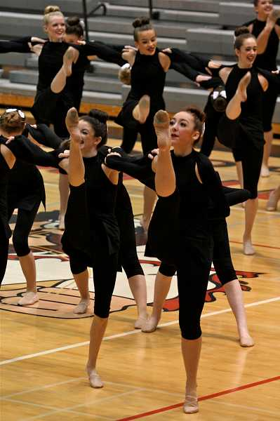 by: TIDINGS PHOTO: J. BRIAN MONIHAN - Teams now change routines and begin to prepare for the 2014 OSAA Dance and Drill State Championships.