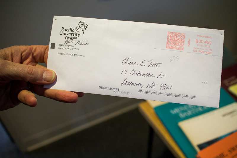 by: NEWS-TIMES PHOTO: CHASE ALLGOOD - Pacific University Director of Bands Michael Burch-Pesses wrote a heartfelt thank-you note to a fictitious music donor--not realizing how hed been duped until the letter was returned. Usually Im a little quicker on the uptake, he said.