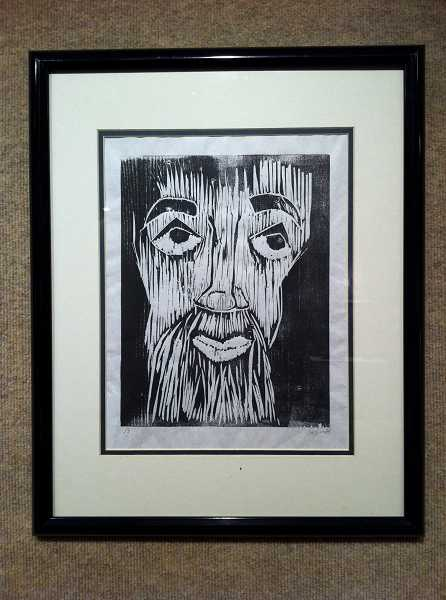 by: NEWS-TIMES PHOTO: COLLEEN CORNISH - This appealing face was created by Steven Armes for Printmaking I class.