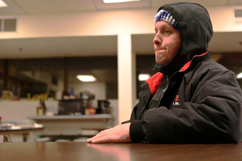 by: TIMES PHOTO: JAIME VALDEZ - Brian Grayson was a regular guest of the Beaverton First Baptist Church's warming shelter when this photo was taken in 2012. He grew up in Hillsboro and lived in a sport-utility vehicle he purchased through seasonal employment in building demolition.