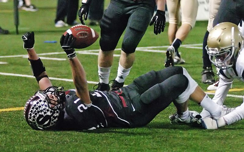 by: DAN BROOD - IN THE END ZONE -- Sherwood's Keegan Lawrence gets to the end zone in the Class 5A state title game.