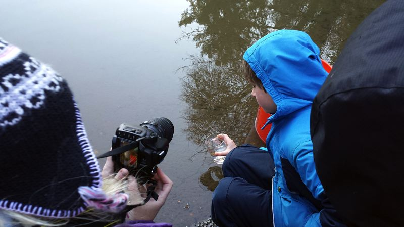 by: COURTESY PHOTO - Third-grade students from Quatama Elementary School released hundreds of salmon fry into the Tualatin River Dec. 7 in a project developed by the Oregon Zoo.
