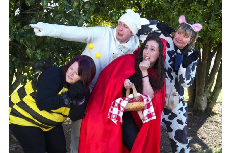 by: PHOTO BY MADALINA GIBSON - Pictured are Molly McDevitt as the Bee, Heather Ovalle as Red, Leland Radburne as the Polar Bear, and Kim Bogus as the Cow.