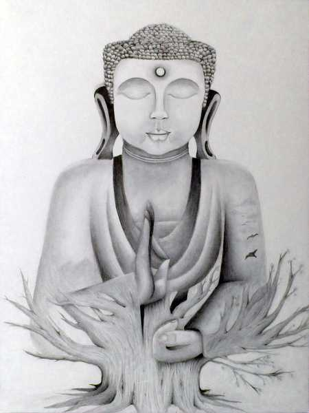 by: SUBMITTED PHOTO - Jessica Land, a senior at WHS, created this piece, Buddha, using graphite on illustration board.