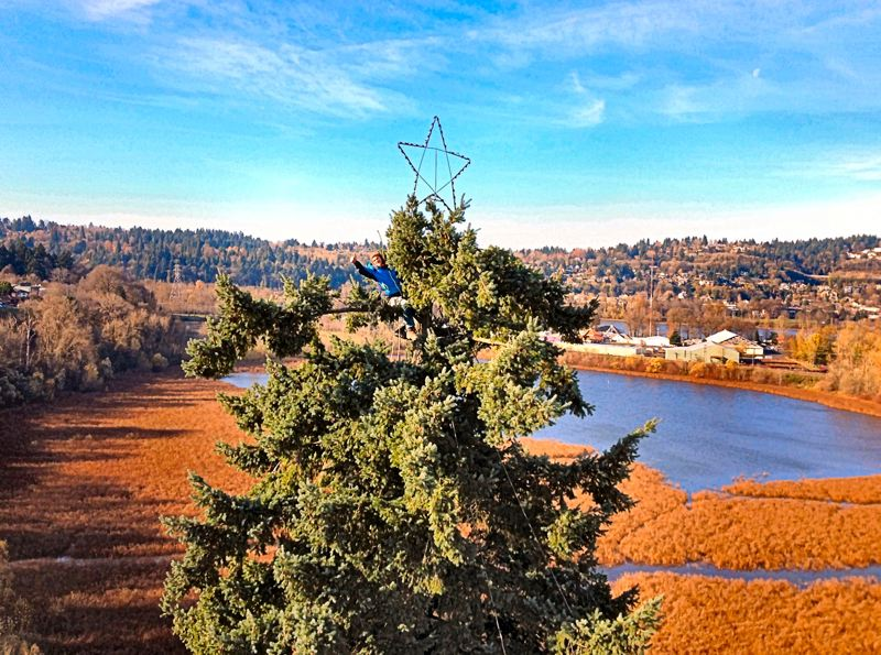 by: COURTESY OF MATT HAINLEY - Joe McKernan, this years coordinator for the placing of the light-strings from the trees top, shows us his view from high atop the tree, on the bluff overlooking Oaks Bottom - with Oaks Amusement Park in the background.