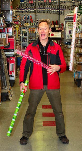 by: DAVID F. ASHTON - Henrik Bothe says hes found many ways to juggle Holiday chores - this time, while shopping at the Westmoreland True Value Hardware store. No merchandise was harmed in the course of this interview.