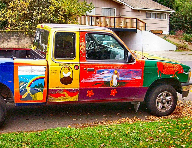 by: RITA A. LEONARD - This art truck near S.E. 15th Place and Linn Street in Sellwood celebrates classical mysteries.