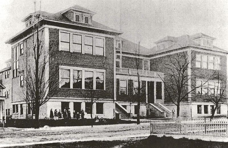 by: COURTESY OF SMILE HISTORY COMMITTEE - Sellwood School, before 1925, and clearly in deep winter, with snow on the ground. This was the wooden two-story building that students attended during the early 1900s. It was torn down in 1925 when the final structure of Sellwood School was finished.