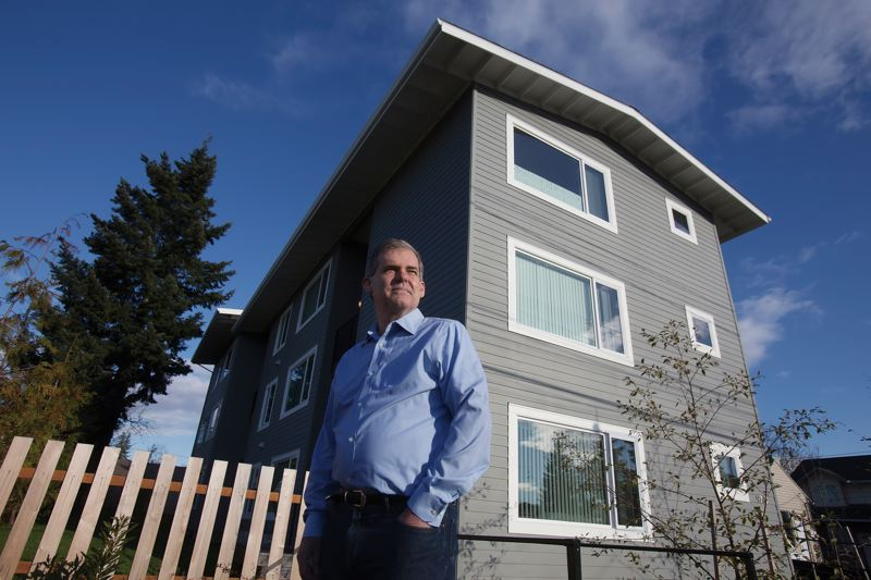 by: PAMPLIN MEDIA GROUP: JONATHAN HOUSE - Architect Stuart Emmons, who designed this home on Southeast Holgate Boulevard and 97th Ave. in Portland, figures he can make modular housing for the homeless at $40,000 per unit.