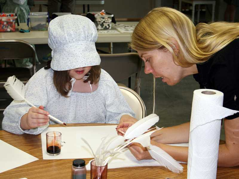 by: COURTESY PHOTO - Campers at the Washington County Museums Winter Break Camp will get the chance to try pioneer-style school, using quill-and-ink pens rather than computer keyboards.