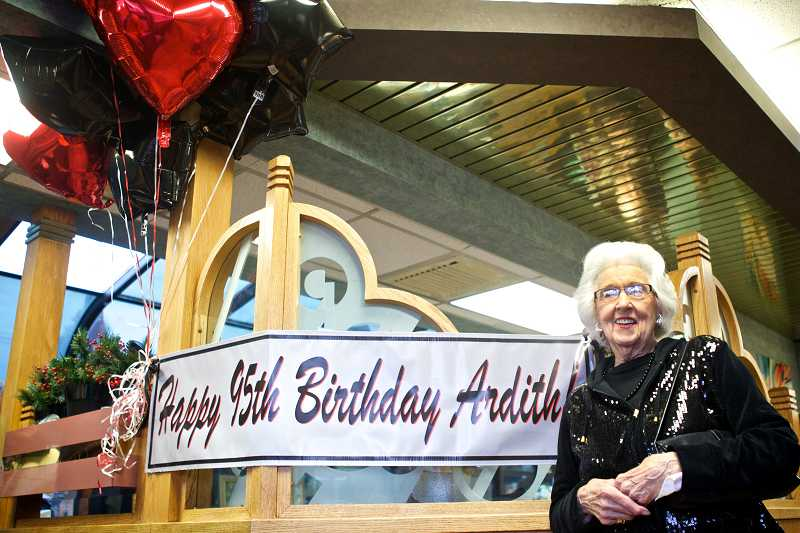 by: TIMES PHOTO: JAIME VALDEZ - Ardith Tall celebrated her 95th birthday with her friends at McDonald's restaurant in Beaverton along Southwest Beaverton-Hillsdale Highway.