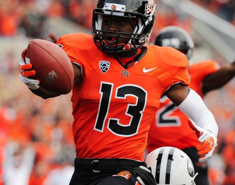 by: COURTESY OF DENNIS WOLVERTON - Brandin Cooks of Oregon State will weigh his NFL draft status.
