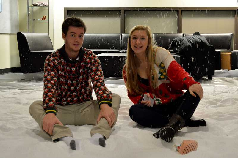 by: SUBMITTED PHOTO: SOPHIE RICHARDS - Bryce Anderson, left, and Sam Howley, members of ASB, enjoy an indoor winter wonderland.