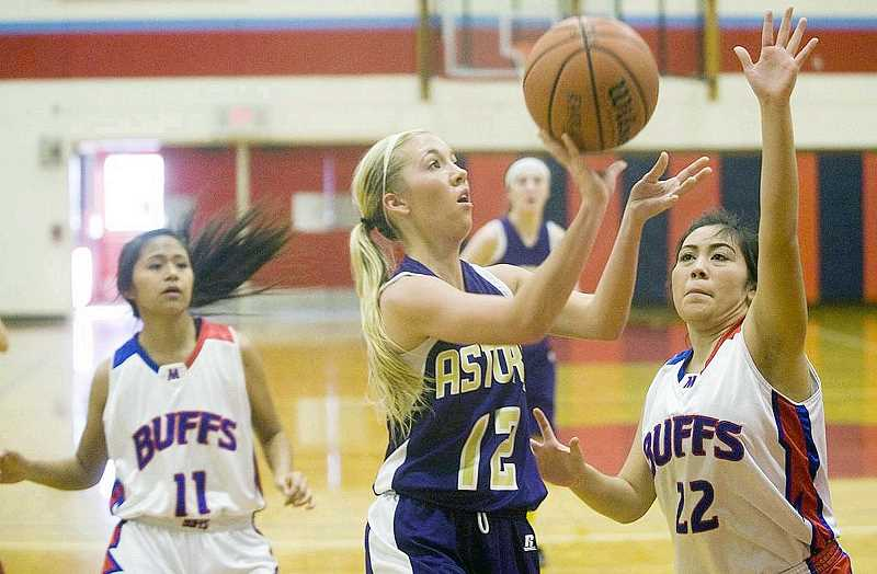 by: PHOTO BY ALEX PAJUNAS/DAILY ASTORIAN - Madras' Rosebud Whipple (22) defends Astoria's Marina Oman during the first round of the Seaside Holiday Classic basketball tournament Thursday at Seaside High School.