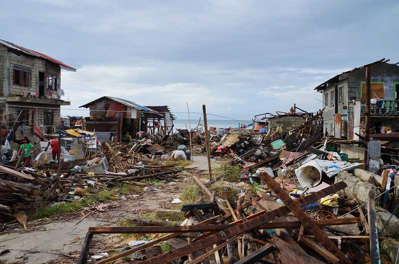 by: SUBMITTED PHOTO - Kirk Hale said the damage caused by Typhoon Haiyan on Filipino islands like Guiuan was like a war zone.