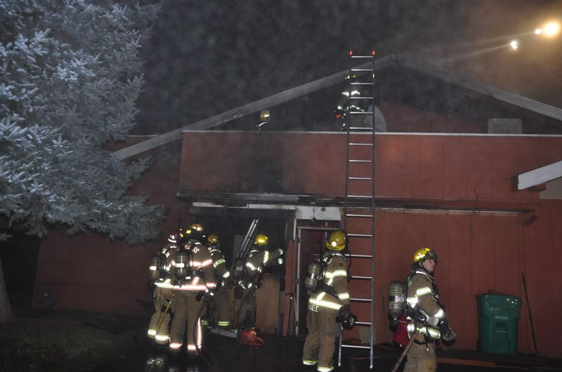 by: COURTESY OF HILLSBORO FIRE DEPARTMENT - About two dozen firefighters from Hillsboro and Cornelius contained an early morning blaze Tuesday to the exterior of a Hillsboro restaurant.