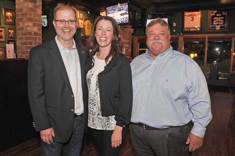 by: FILE PHOTO - From left, Keith Steele, Regan Molatore and Rob Fernandez celebrate their wins in a May 21 special election.