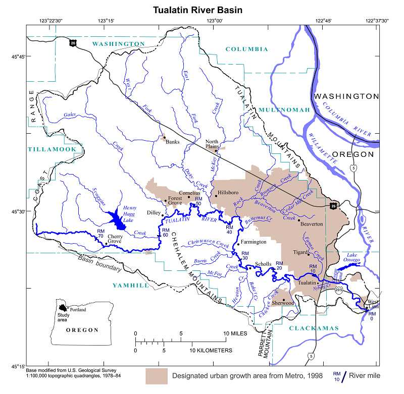 by: SUBMITTED MAP - Scoggins Dam, visible on this map, releases water from Henry Hagg Lake that flows into the Tualatin River and eventually through Lake Oswego and West Linn.