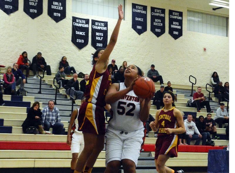 by: TIMES PHOTO: MATT SINGLEDECKER - Beaverton senior post Shaunta Jackson goes up for a basket.