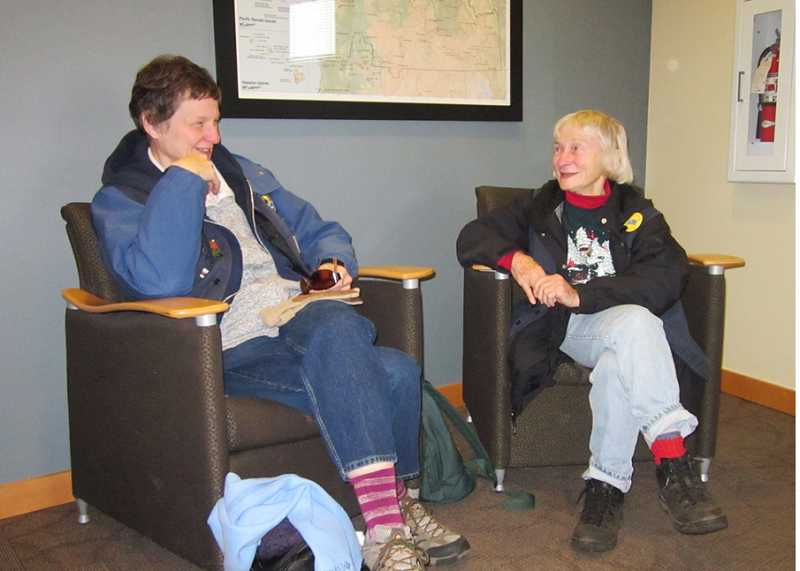 by: BARBARA SHERMAN - FAST FRIENDS - Judy Albertson (left) and Sue Sutter sit inside the U.S. Department of Fish & Wildlife office at the Tualatin River National Wildlife Refuge to chat about why they enjoy volunteering.