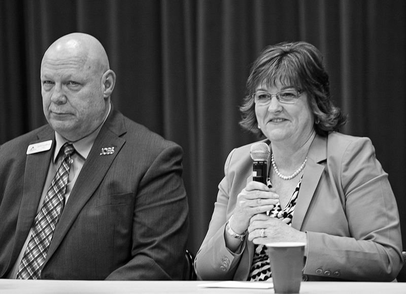by: SPOKESMAN PHOTO: JOSH KULLA - The balance of power swung in a conservative direction on the Clackamas County Board of Commissioners with the election of former Wilsonville Mayor John Ludlow (L) and Tootie Smith of Molalla.
