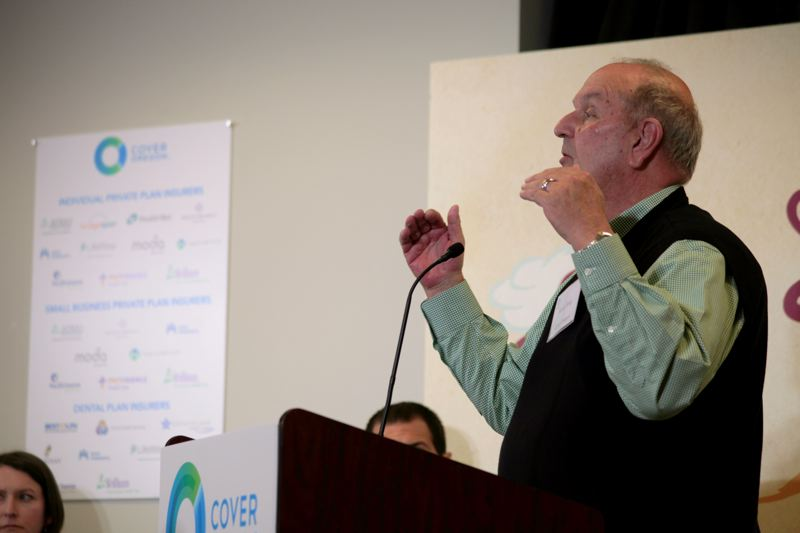 (Image is Clickable Link) by: COURTESY OF COVER OREGON - Howard 'Rocky' King spoke at the Oct. 1 launch of the online health insurance exchange, Cover Oregon, in Durham. Technical problems caused the exchange to flop, and King resigned his post this week, effective March 5.