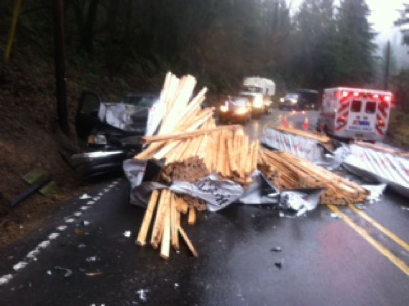 by: SUBMITTED PHOTO - N.W. Cornelius Pass Road is expected to remain closed until after the afternoon commute Thursday, said a spokesman for the Multnomah County Communications Office.