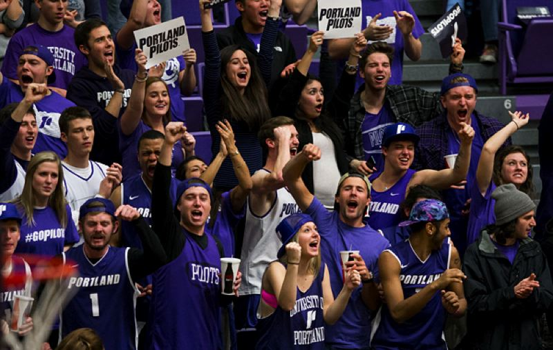 by: COURTESY OF STEVE GIBBONS - The Portland Pilots' crowd gets into it as their team takes control of the game at Chiles Center.