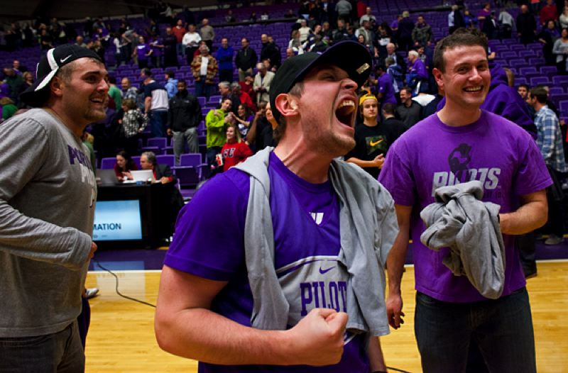 by: COURTESY OF STEVE GIBBONS - Portland Pilots fans at Chiles Center enjoy the nin-point win over perennial West Coast Conference power Gonzaga.