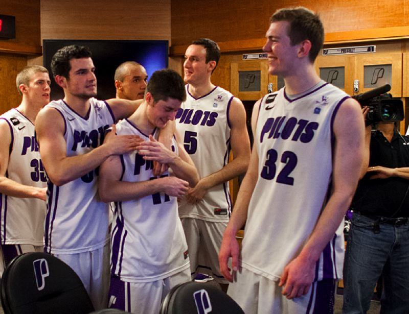by: COURTESY OF STEVE GIBBONS - The Portland Pilots are a happy bunch after their victory over the Gonzaga Bulldogs.