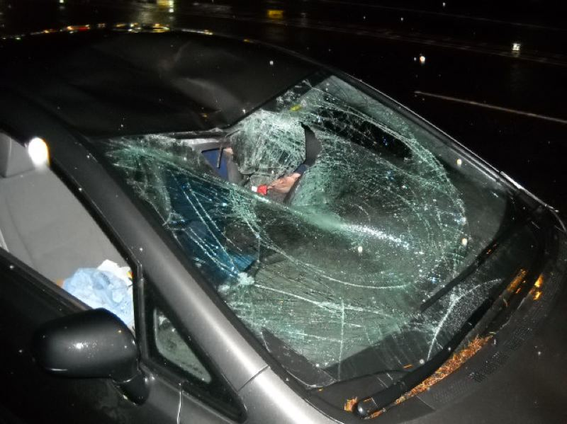by: PHOTO COURTESY: MILWAUKIE POLICE DEPARTMENT - Sorin Nita almost goes through an Estacada woman's windshield and over the top of her car after being hit on Highway 224.