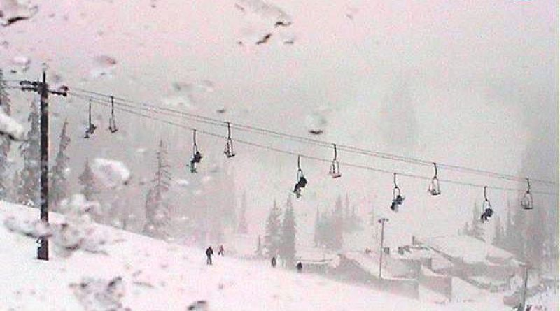 by: KOIN NEWS 6 - Webcam image of skiers on the lift at Mount Hood Meadows on Sunday.