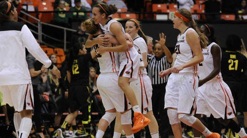 by: COURTESY OF DAVE NISHITANI - Gabrielle Hanson, a 5-11 freshman guard, gets a lift from teammates as Oregon State wins at home against Oregon on Monday night.