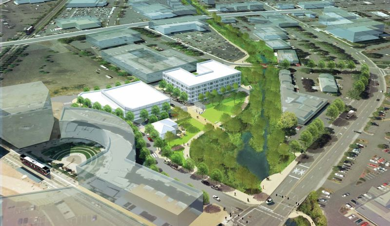 by: CONTRIBUTED GRAPHIC - This artist rendering shows a possible scenario for the projects being planned as part of the Creekside District revitalization in a 50-acre swath of downtown Beaverton property near The Round at Beaverton Central.