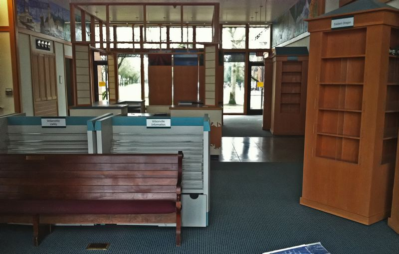 by: SPOKESMAN PHOTO: JOSH KULLA - The former Wilsonville Visitor Information Center is now vacant and will remain that way indefinitely, according to the city, while the cost to refurbish the building is tallied and repairs are undertaken.