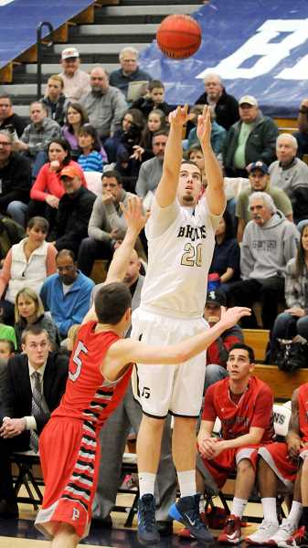 by: SETH GORDON - Bombs away - Forward Seth Brent attempts a three-pointer in George Fox's 80-68 victory over Pacific at Miller Gym on Saturday night.