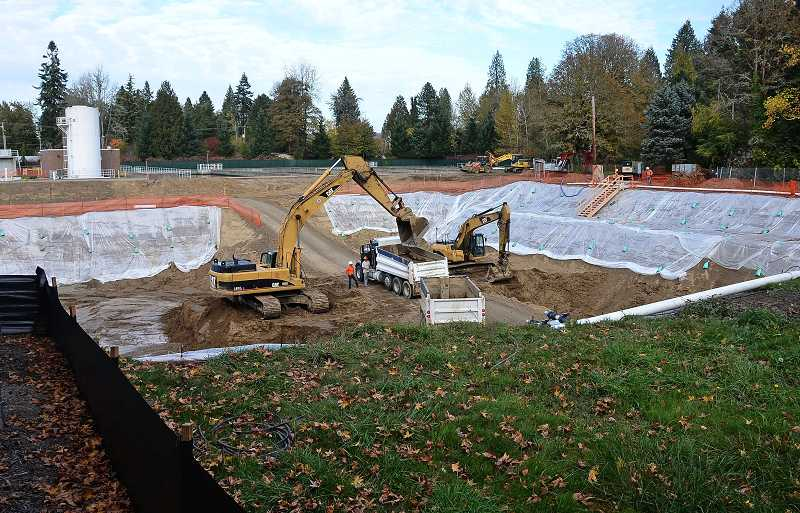by: TIDINGS FILE PHOTO: VERN UYETAKE - Construction at the Lake Oswego Water Treatment Plant site continues as planned after the West Linn City Council approved the project in a LUBA-mandated re-vote Wednesday morning.