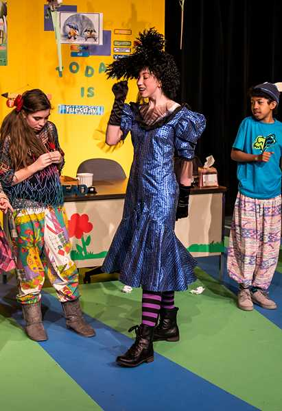 by: COURTESY PHOTO: FRANK HUNT - Substitute teacher Viola Swamp frightens Miss Nelsons students, Raymond, Georgie, Phoebe, Lavita, Morris, Kimberly and Elvis.
