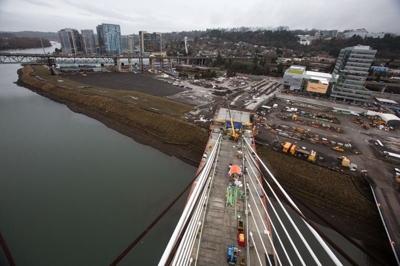 by: TRIBUNE PHOTO: JONATHAN HOUSE - The view from the top of the TriMet transit bridge currently under construction over the Willamette River in Portland.