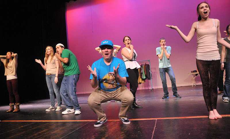 by: REVIEW PHOTO: VERN UYETAKE - LOHS students wrote the musical comedy UH-OH! for their Musical Theater Workshop class. A host of students rehearsed last week, including, from left: back row: Hayley Sims, Ellie Ulrich, Tizoc Gutierrez, PJ Harris, Austin Ellerbruch; and front row: Reilly Quinn and Elena Gomes.