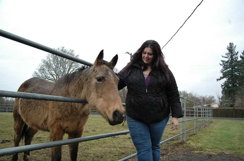 by: ISABEL GAUTSCHI - Sound Equine Options board member Kim Mosiman gives Ginger Snap a scratch. Ginger Snap is one of 'The Christmas Six,' a group of neglected horses from the Dalles that were rescued around Christmas.