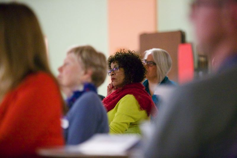 by: TRIBUNE PHOTO: JAIME VALDEZ - About racially mixed crowd of about 50 people attended the recent talk at Jefferson. PPS focus on racial equity set a framework for these types of lectures and events that explore race.