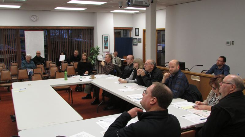 by: SPOTLIGHT PHOTO: MARK MILLER - A meeting was held between the city of St. Helens, consultants and local businesspeople Tuesday, Jan. 14, to discuss design options for a project that aims to update St. Helens' master plan for its main transportation corridors.