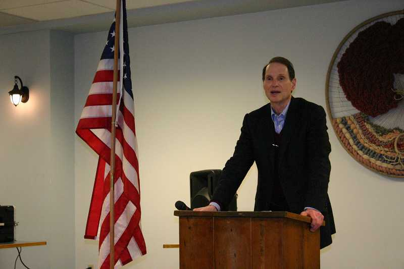 by: JASON CHANEY - U.S. Sen. Ron Wyden addressed a crowd of about 40 people at the Prineville Senior Center on Saturday afternoon.