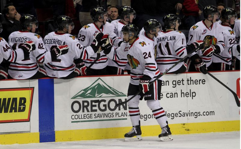 Mathew Dumba is congratulated by Portland teammates after scoring his first goal as a Winterhawk.
