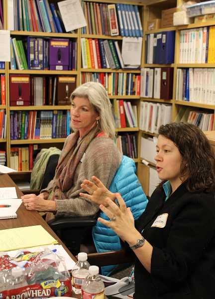 by: JILLIAN DALEY - Chris Miller, left, the Lake Oswego Schools Foundation's campaign chairwoman, and foundation executive director Sara Patinkin discussed campaign plans at a campaign captain training meeting Friday.